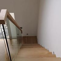 glass and wood down stairs