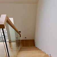 glass and wood handrail